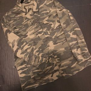 Topshop Camouflage Button Front Jacket